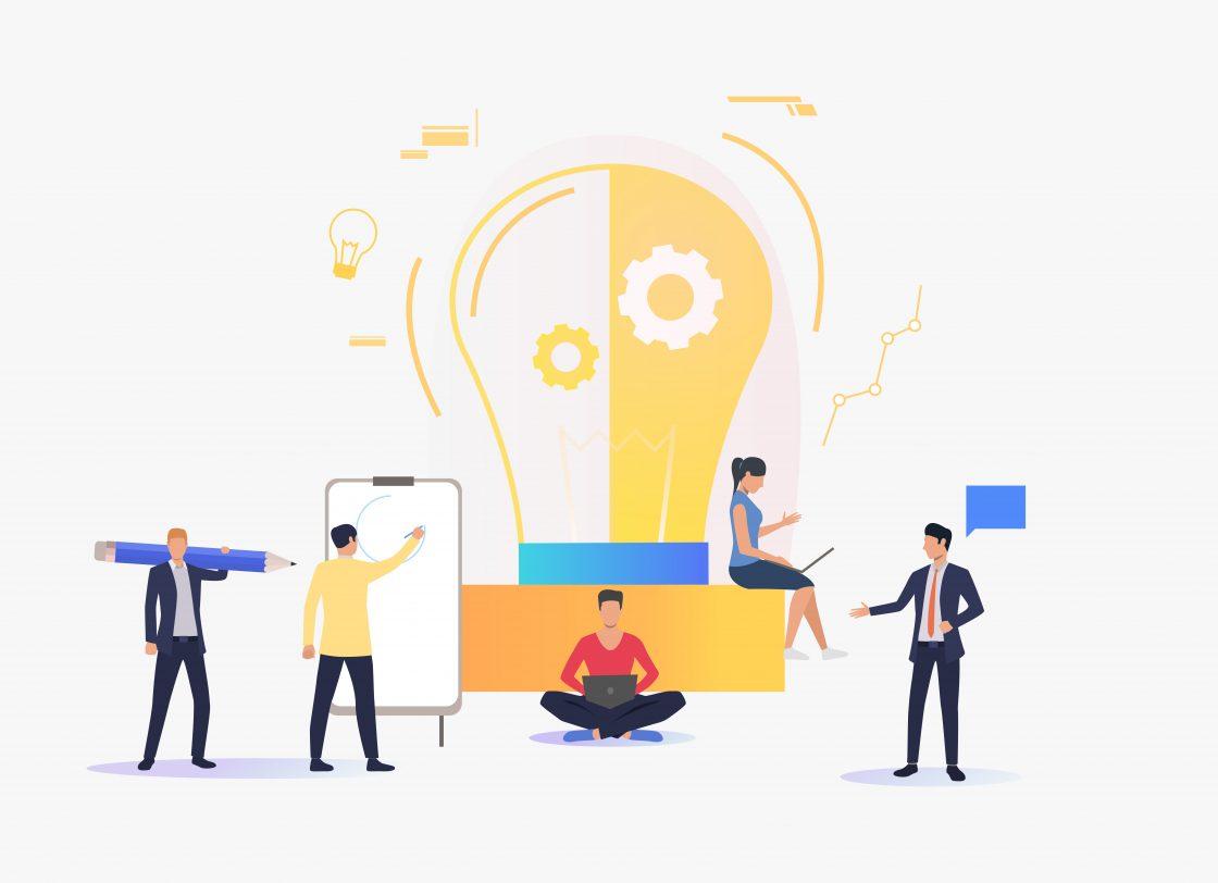 Ilustração de pessoas trabalhando em volta de uma lâmpada acessa