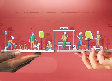 Arte com desenhos de pessoas fazendo atividades diárias, saindo de dois celulares na horizontal, segurados por duas mãos humanas