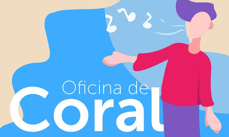 folder com o nome da oficina de coral gratuita, à direita desenho de uma criança cantando