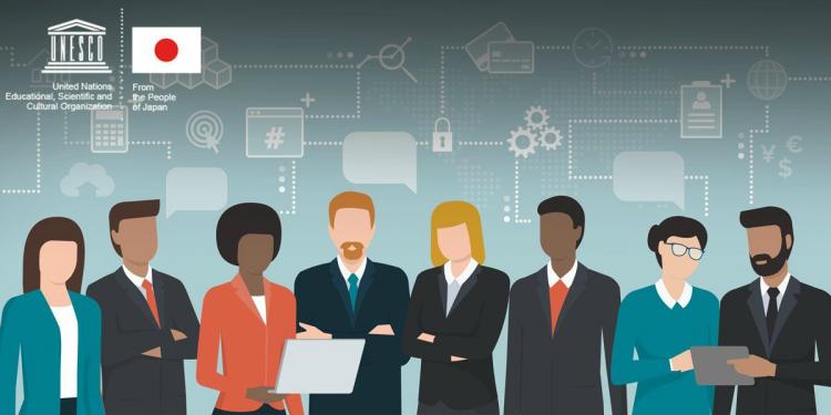 Ilustração com oito pesquisadores, entre homens e mulheres, com funco azulado e traços conectando as pessoas