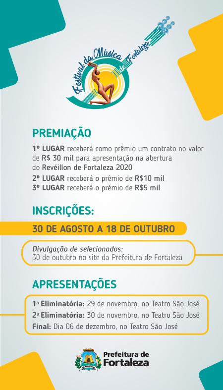 Banner de divulgação dos prêmios e das datas para inscrição no Festival da Música de Fortaleza
