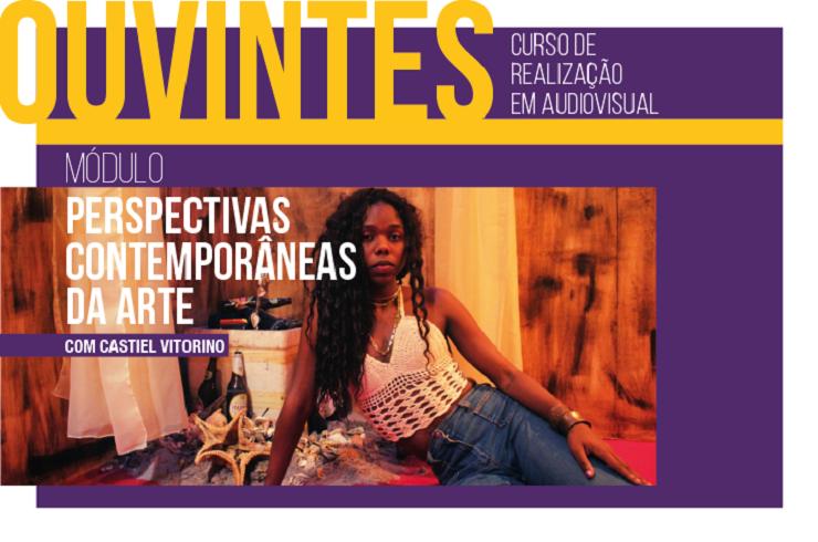 Folder do Curso de Realização em Audiovisual com a psicológa Castiel Vitorino e informações