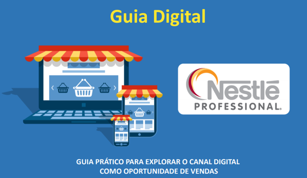 Banner do guia digital da Nestlé Professional, com notebook, smartphone e tablet desenhados