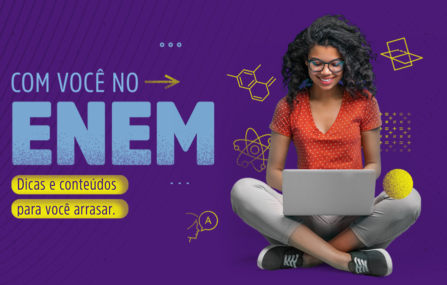 Banner do canal Com você no Enem, que oferta conteúdo gratuito para o Enem