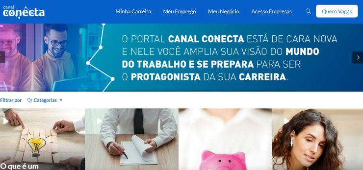 Print do Canal Conecta, que oferta conteúdos gratuitos para que busca emprego