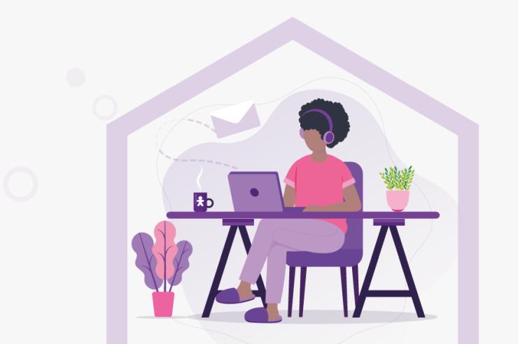 Desenho de mulher negra digitando no notebook; Vivo abre vagas para call centers